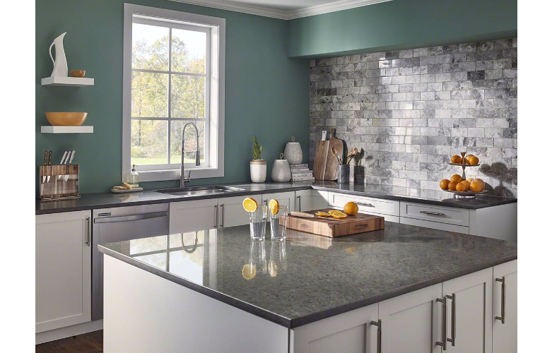 image showing white shaker countertops with gray quartz countertops in a auburn, wa kitchen