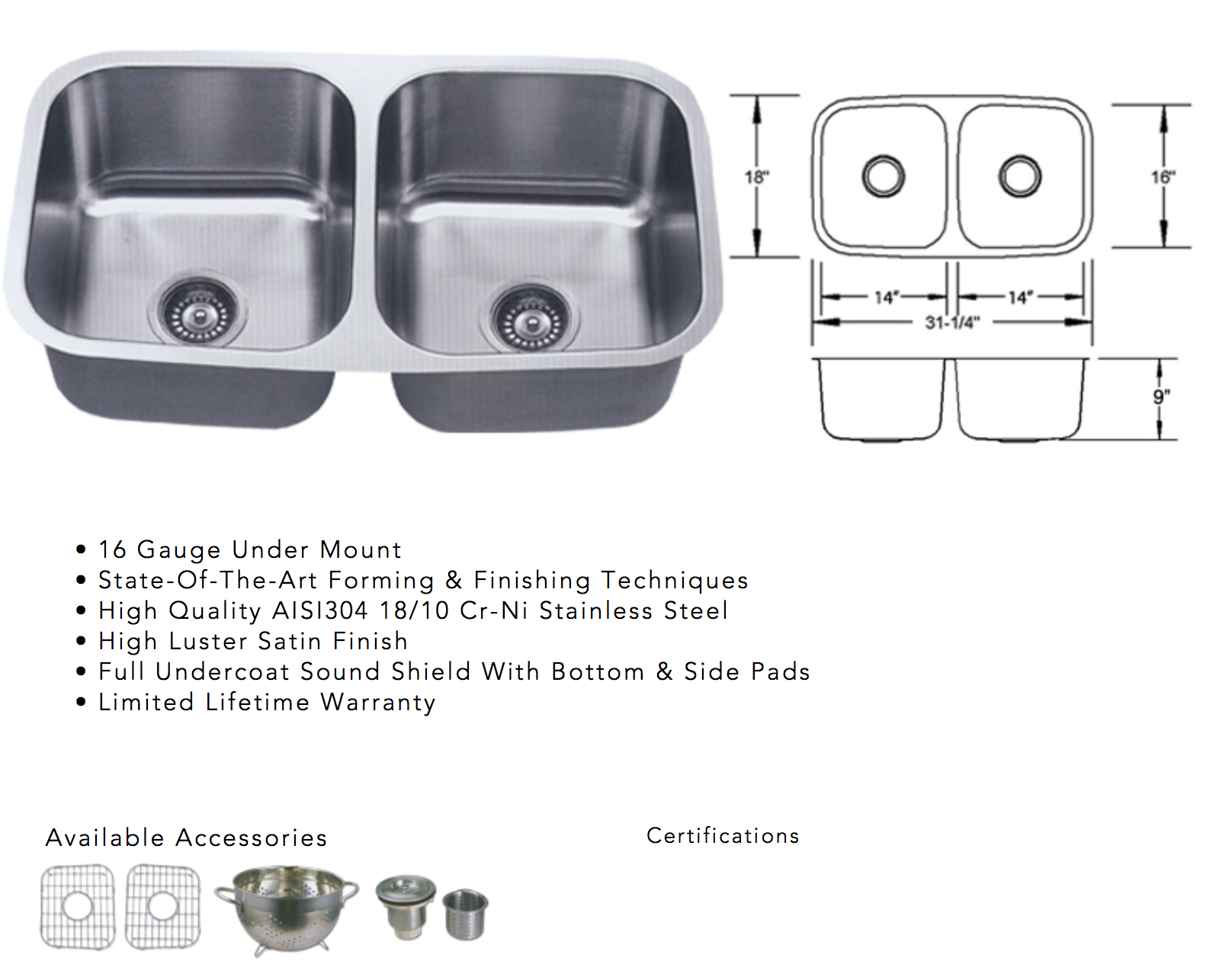 image of sink specifications for undermount quartz
