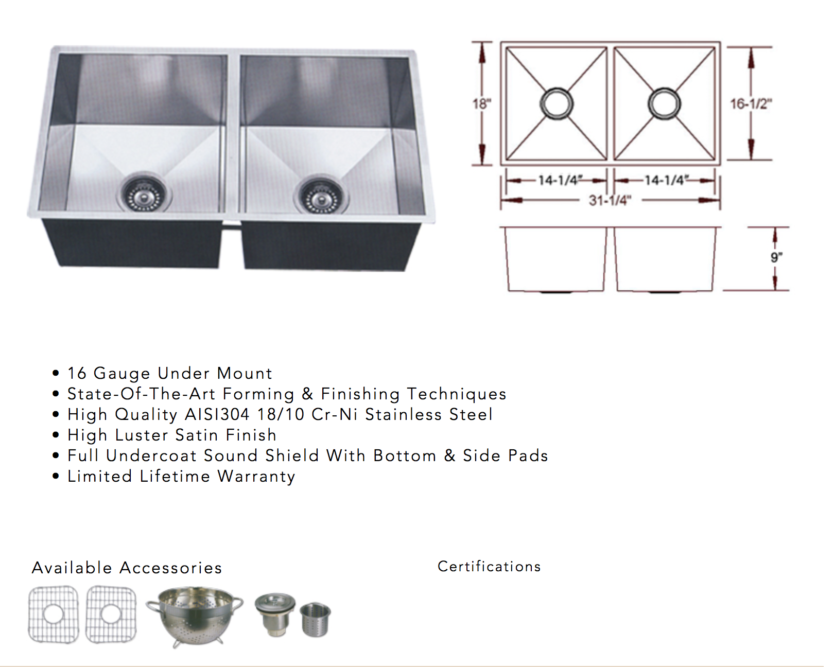 photo of stainless steel square corner sink