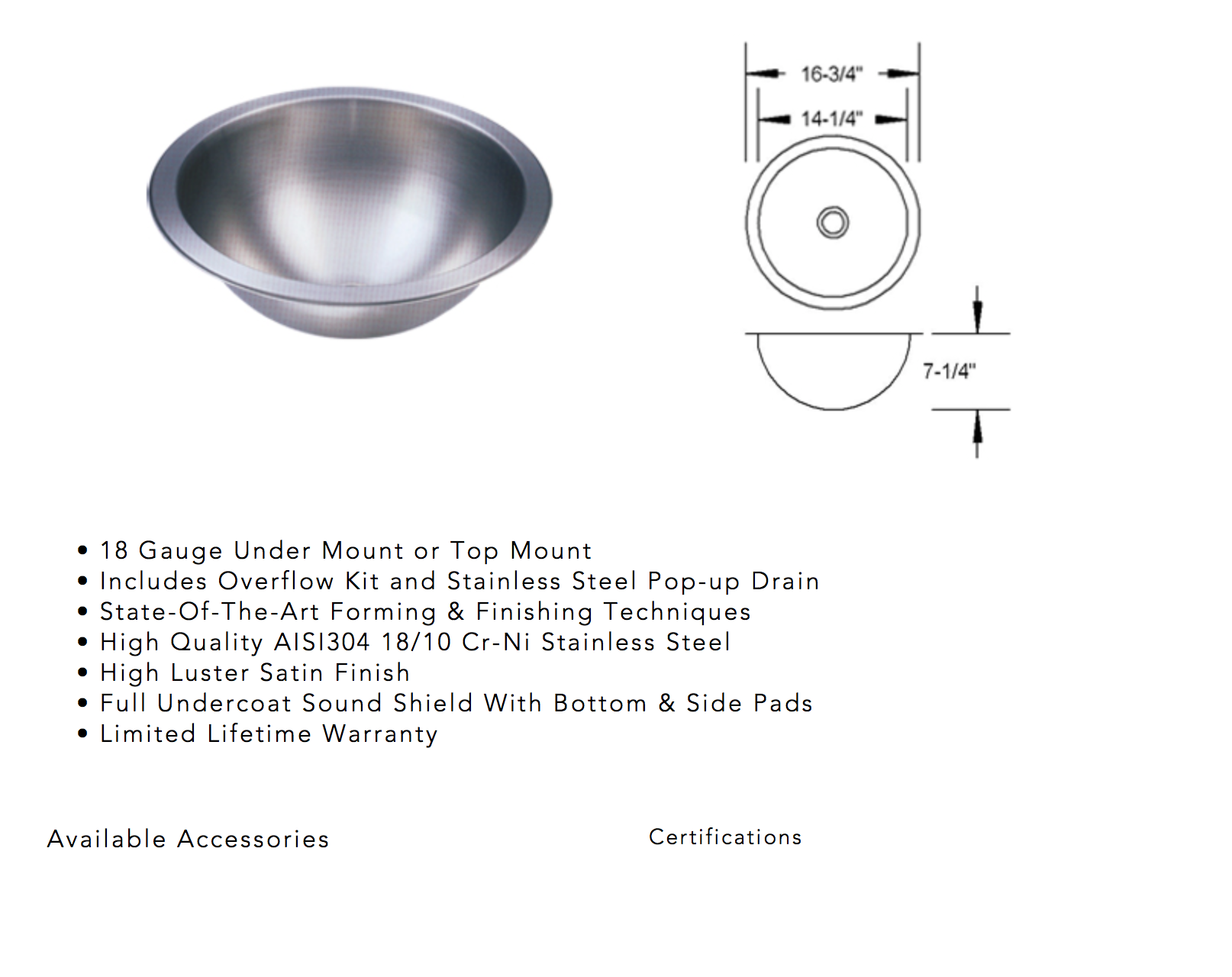 image showing specifications of undermount sink for quartz counters in tacoma, wa