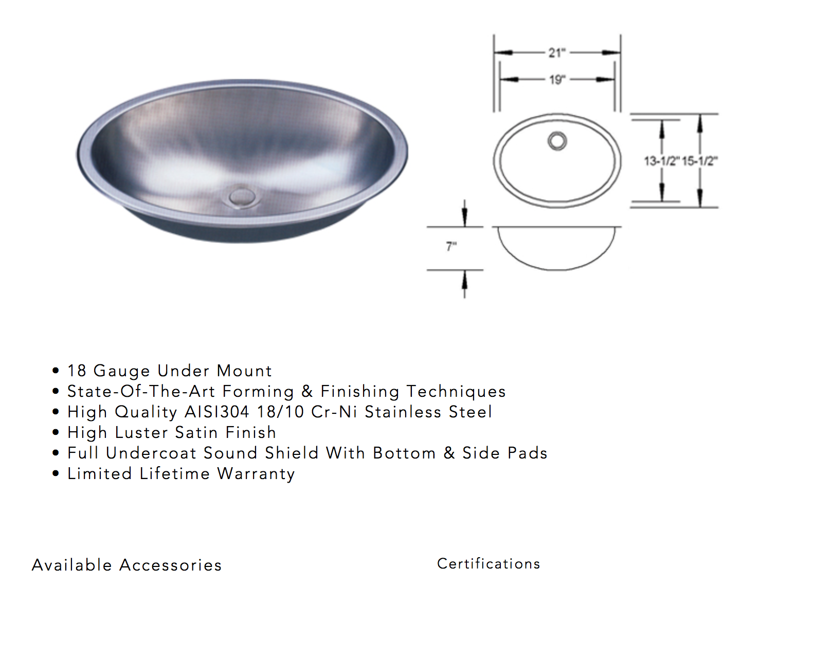 photo of oval stainless steel sink sold by new leaf in tacoma, wa for quartz counter top undermount