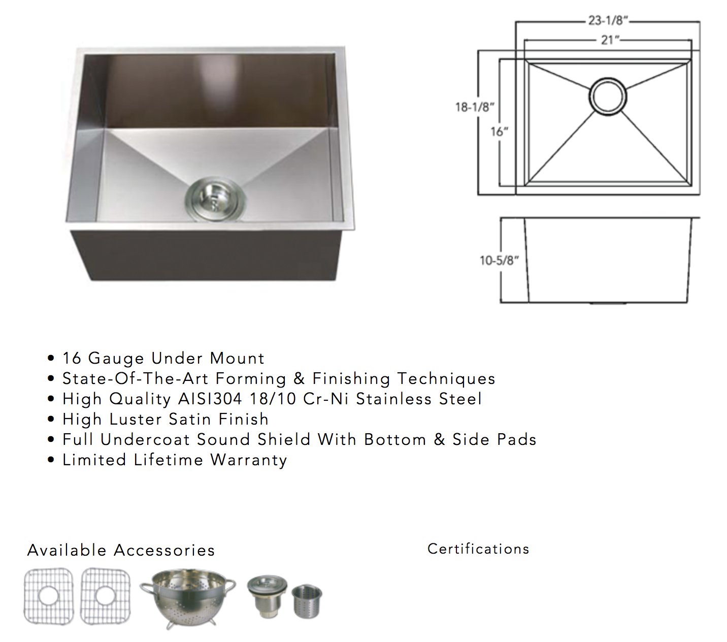 image of square stainless steel sink