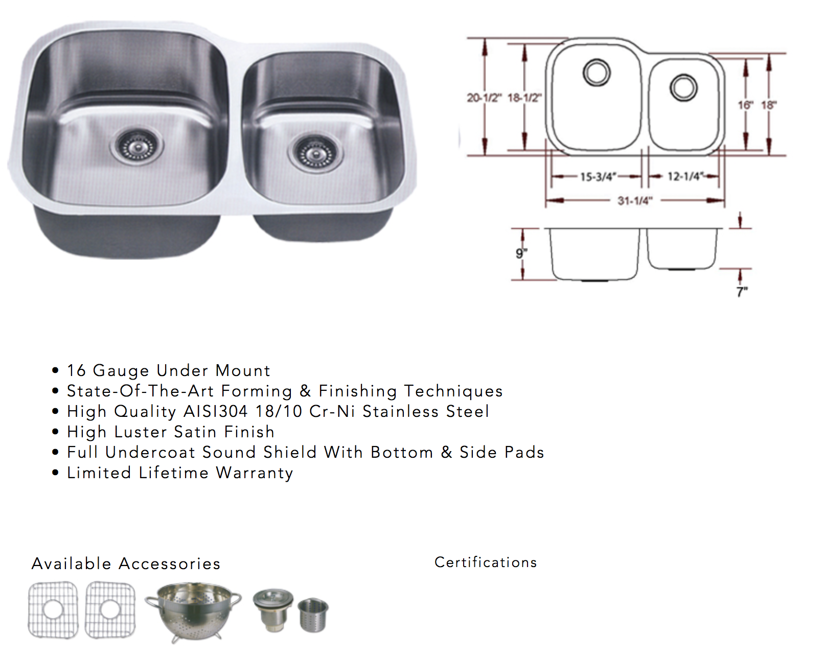 Image containing information for a stainless steel undermount sink