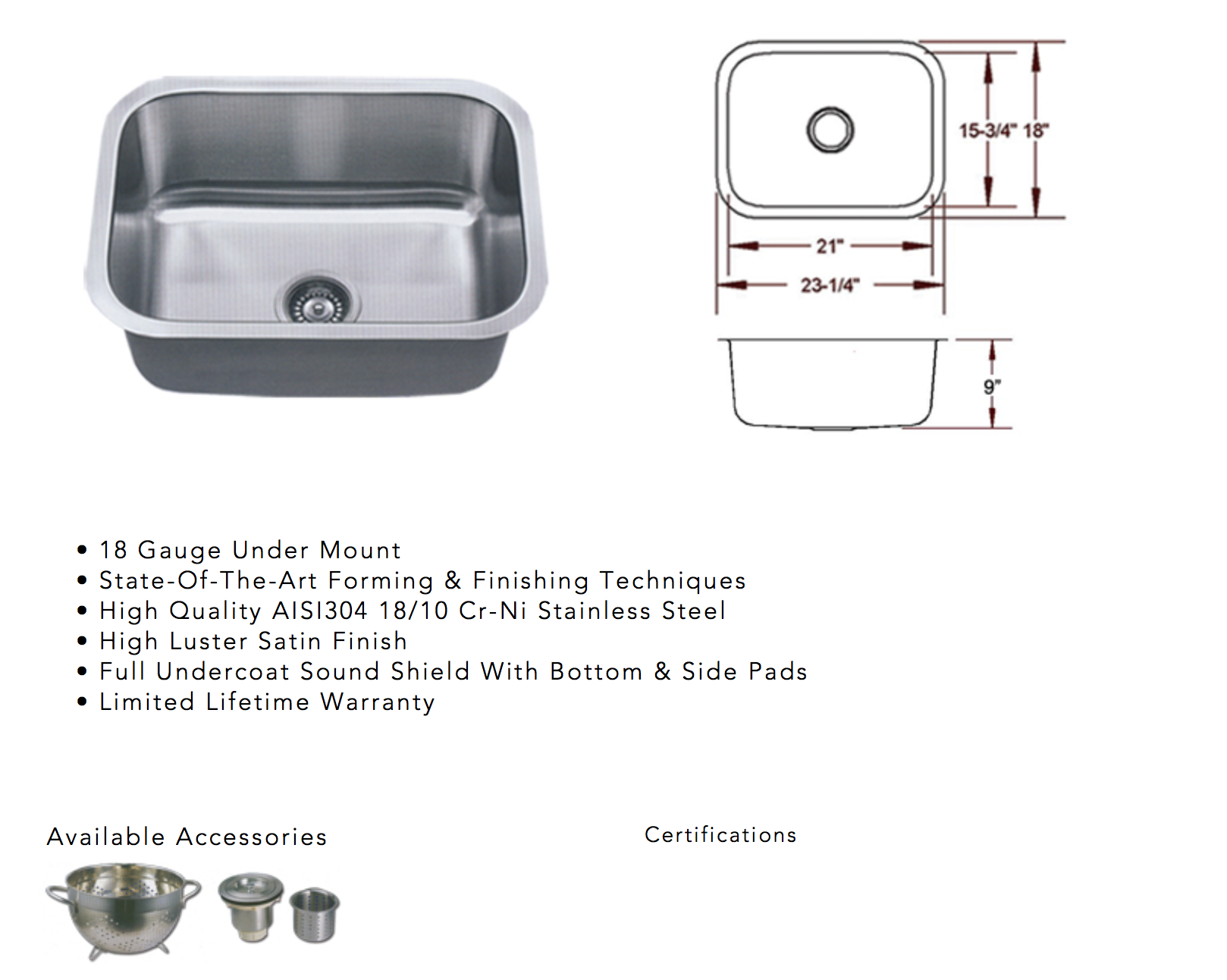 image containing specifications for undermount sink for quartz or granite countertops installed by new leaf cabinets & counters in Tacoma, WA
