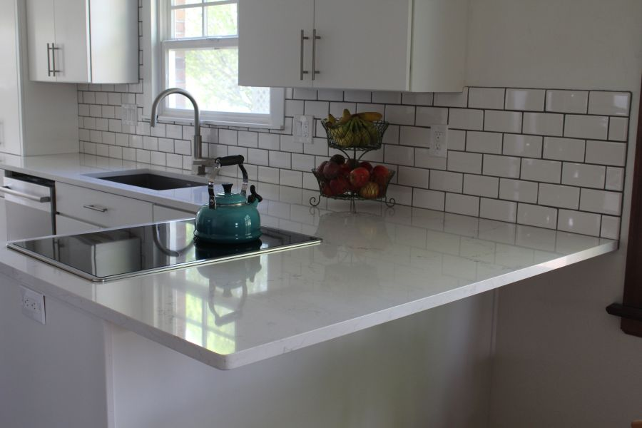 Photo of polished quartz countertops
