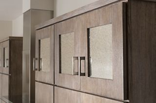 image of shaker cabinets with frosted glass doors