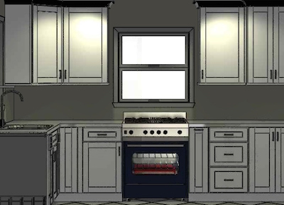 image of 3d kitchen design rendering