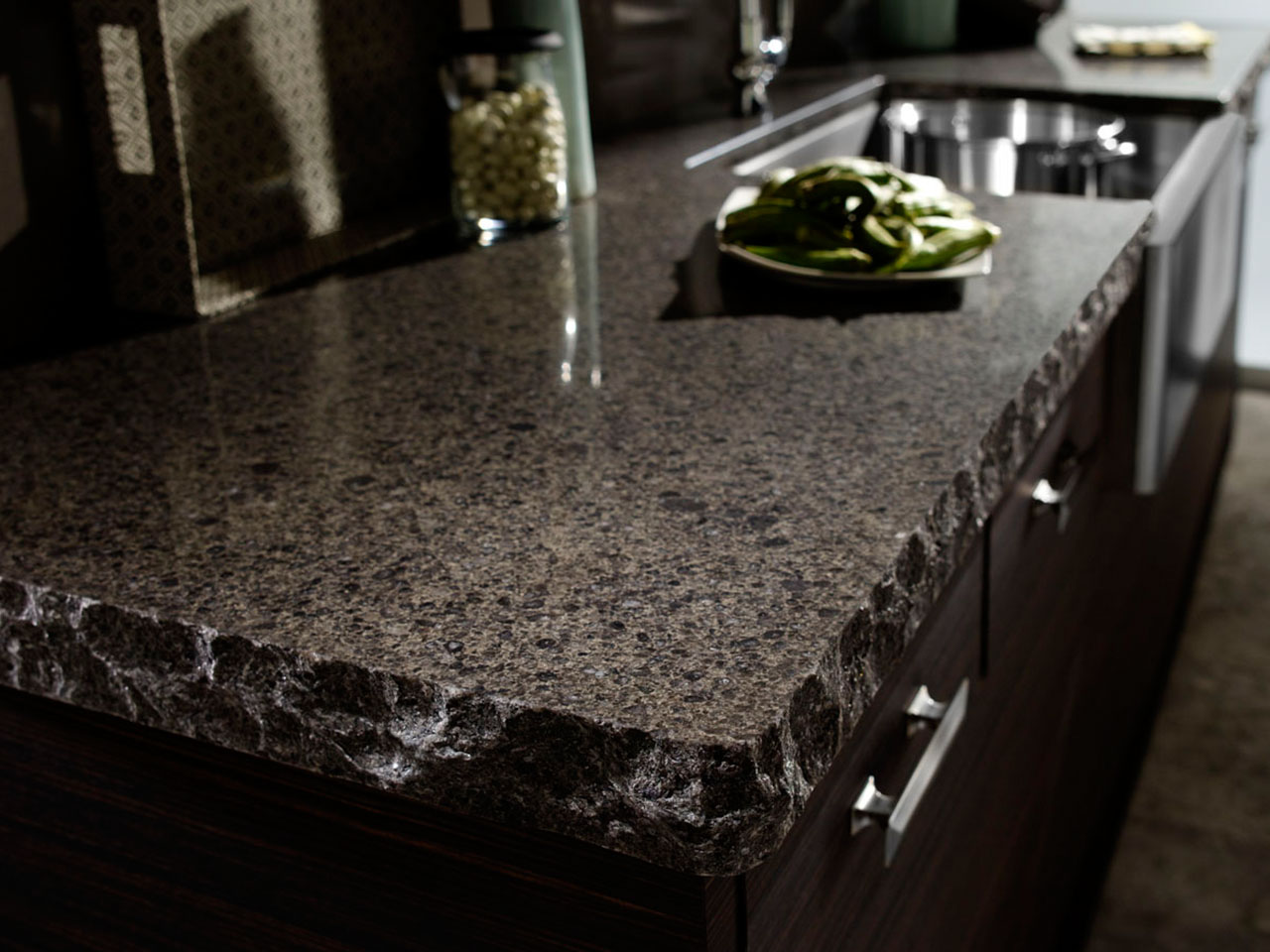 close up photo of a granite countertop with a chiseled edge