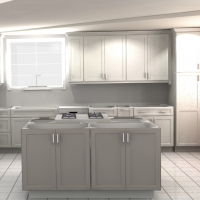 Kitchen design 3d rendering of cabinet layout