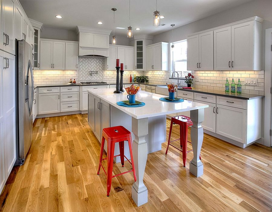 White Shaker Cabinets With Gray Island, White Shaker Kitchen Cabinets With Quartz Countertops