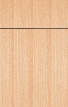 Bella shown in Straight Grain Red Oak with a Natural finish.  Available in frameless cabinetry only.