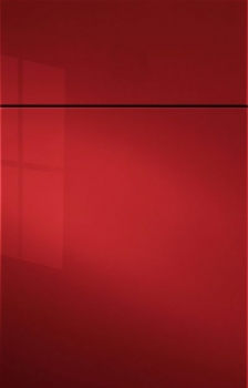 Gibson Acrylic High Gloss Paint.  Shown in Ruby Red. Available in Frameless cabinetry only.