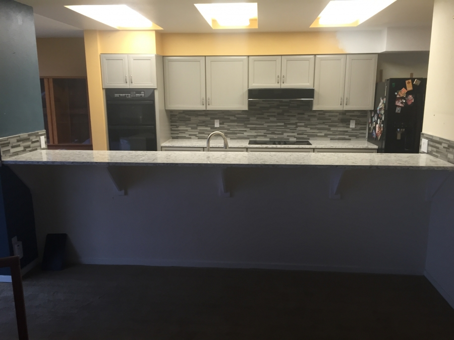 Galley Gray Gray Kitchen Cabinets And Quartz Counters