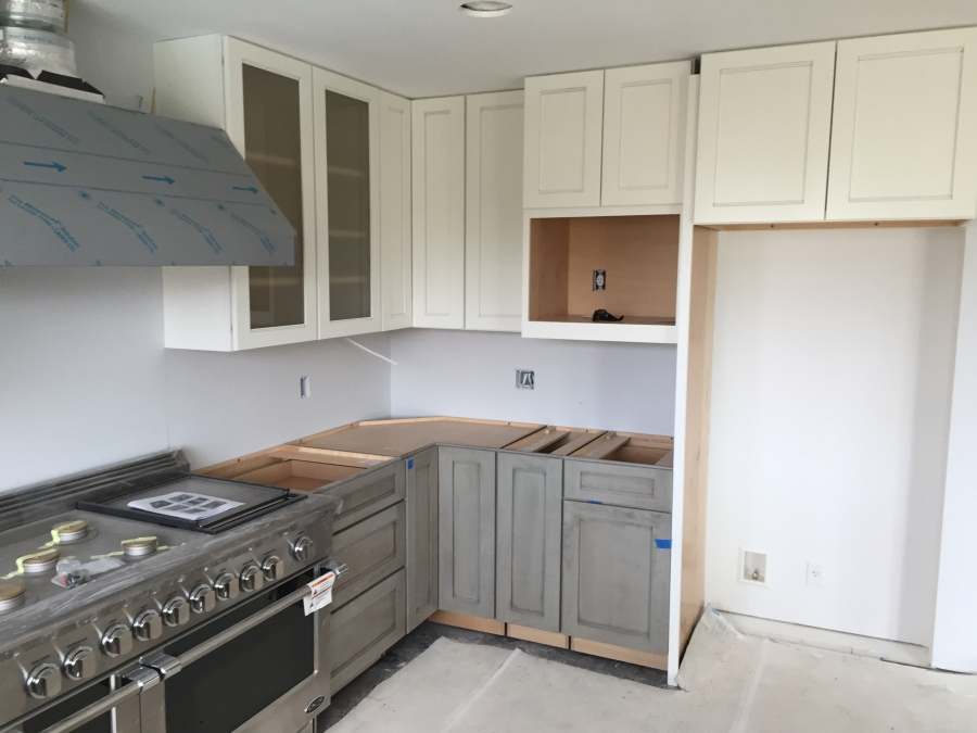 Gray Lower Cabinets With White Uppers