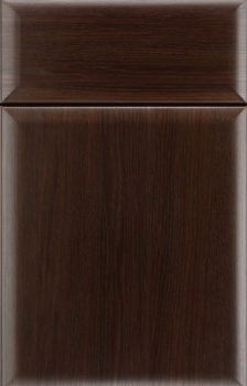 Leighton Thermofoil shown in Kona Oak.  Available in frameless cabinetry only.