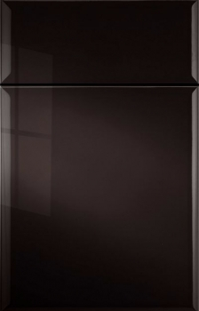 Leighton Thermofoil shown in Midnight Black.  Available in frameless cabinetry only.