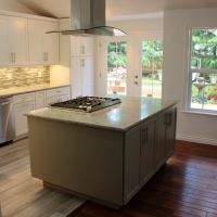 Gray Island cabinets - New Leaf Cabinets