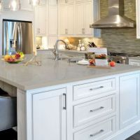Fossil grey quartz countertops