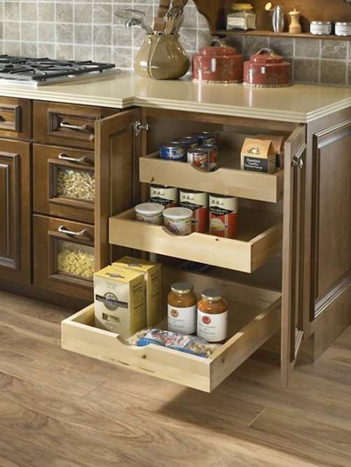 Keep Everything Accessible With Roll Out Shelving.