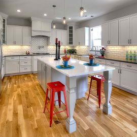 White Shaker Cabinets with Gray Island
